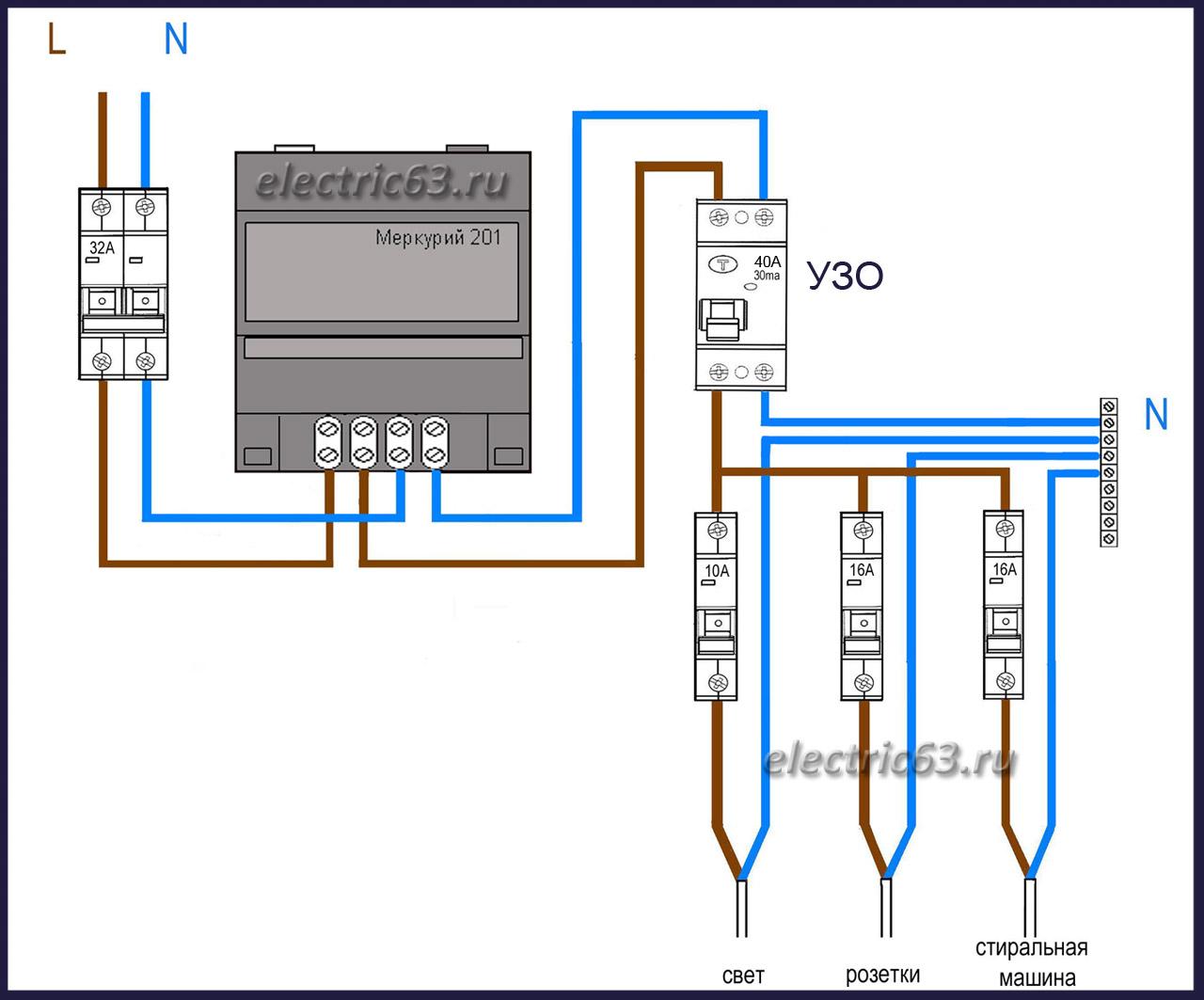 схема подключения счетчика и автомата